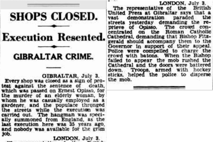 1931 Ernesto Opisso executed in Gibraltar - riots
