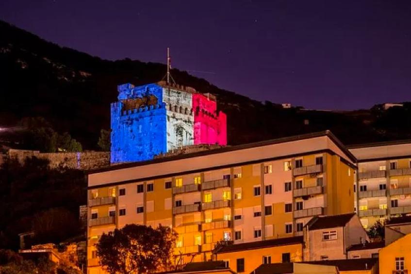 2015 Moorish Castle Gibraltar's tribute for French terrorist victims