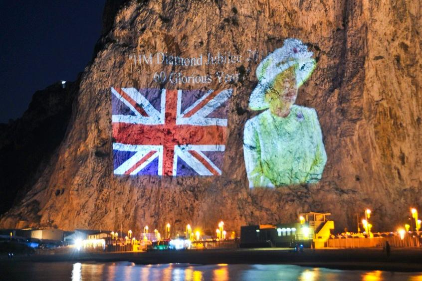 2012 Queen Diamond Jubilee Gibraltar Rock projection