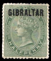 1886 Gibraltar Stamps - Queen Victoria, Bermuda overprint