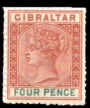 1898 Gibraltar Stamp - Sterling Reissue