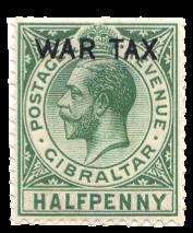 1918 King George V WAR TAX Gibraltar Stamp