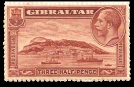 1931 King George V Rock View-Gibraltar Stamp
