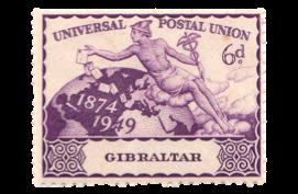1949 King George VI 75th Anniversary UPU Gibraltar Stamp