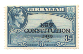 1950 King George VI New Constitution-Gibraltar Stamp