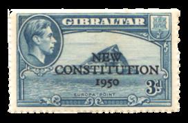 1950 King George VI New Constitution-Gibraltar Stamp