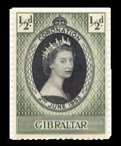 1953 Coronation Queen Elizabeth Gibraltar Stamp