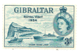 1954 Queen Elizabeth Visit Gibraltar Stamp