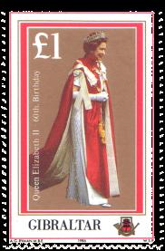1986 Queen Elizabeth II 60th Gibraltar Stamp