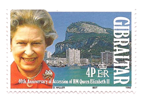 1992 40th Anniversary of Queen Accession Gibraltar Stamp