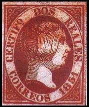 1851 Spanish Stamp - Red